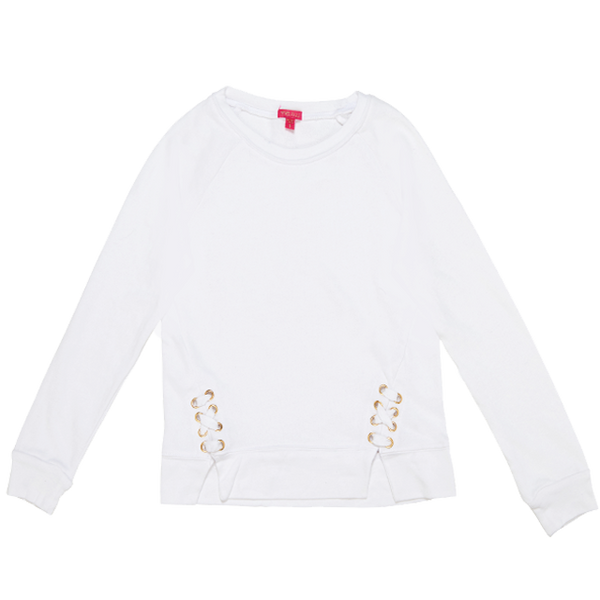 Lace Up Sweatshirt - White