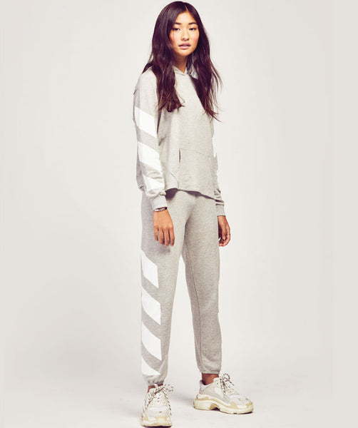 Stripe Sweatpants - Grey/White
