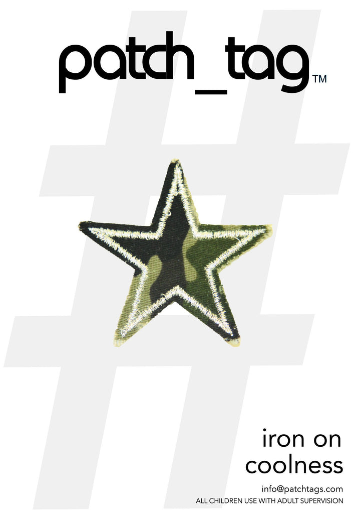 Camo Star Iron On Patch From me.n.u