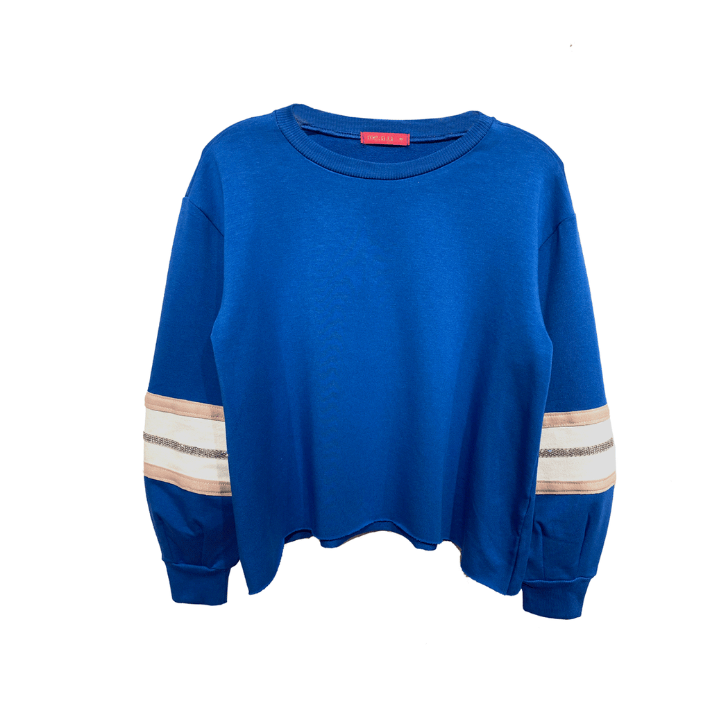 Crystal Raw Hem Sweatshirt - Royal Blue