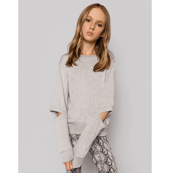 Elbow Cut Out SWEATSHIRT GREY