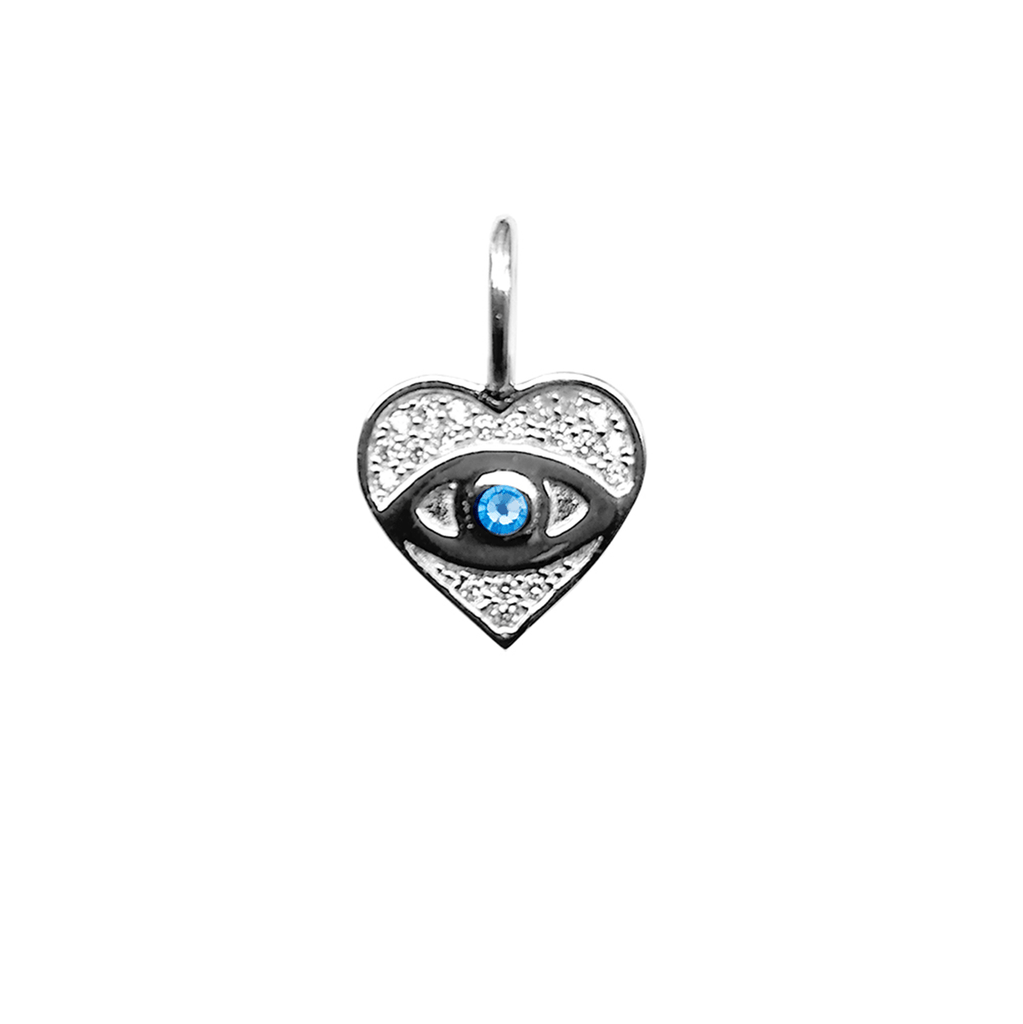 Crystal Heart With Evil Eye Charm