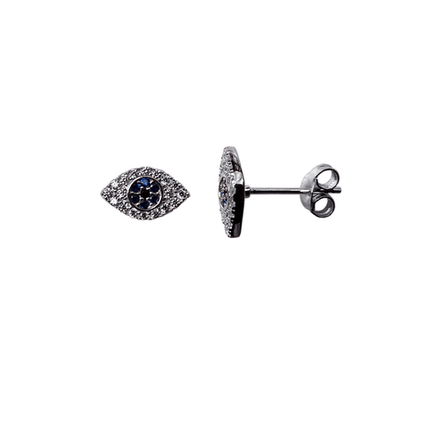 Blue Stone Evil Eye Earrings - Silver