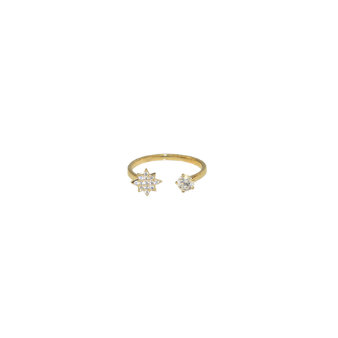 Double  Crystal Ring - Gold