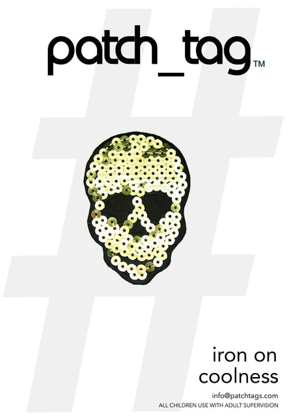Gold Sequin Skull Iron On patch_tag From me.n.u