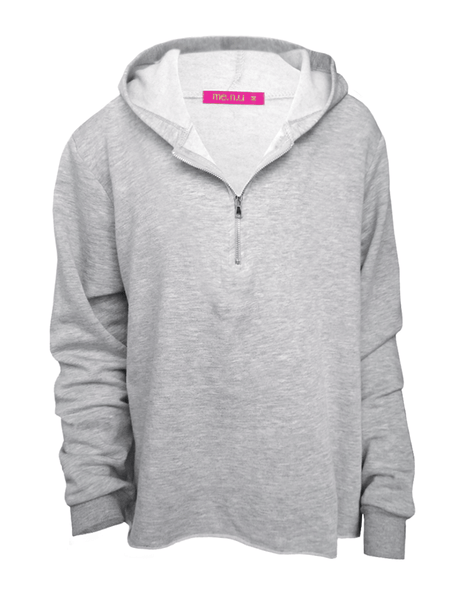 Zip Henley Hoody - Heather Grey