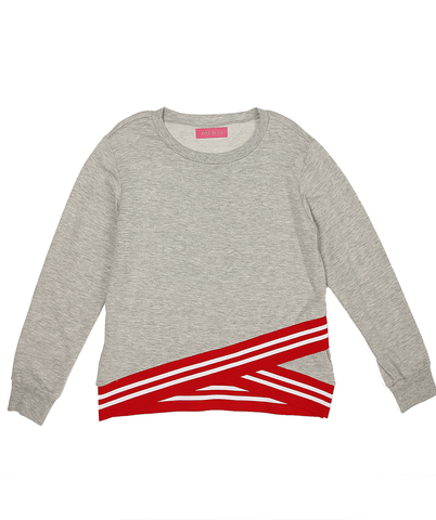 Athletic Criss Cross Sweatshirt- Grey