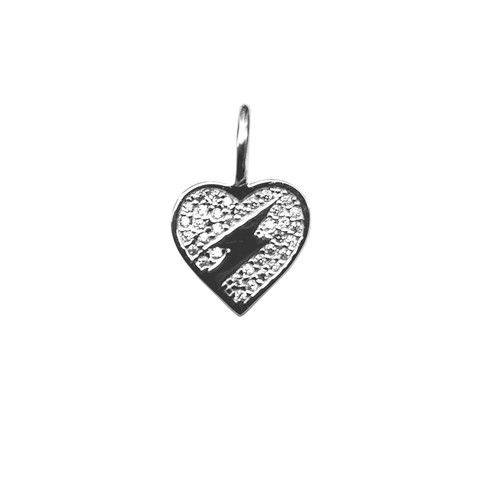 Crystal Heart With Lightning Bolt Charm