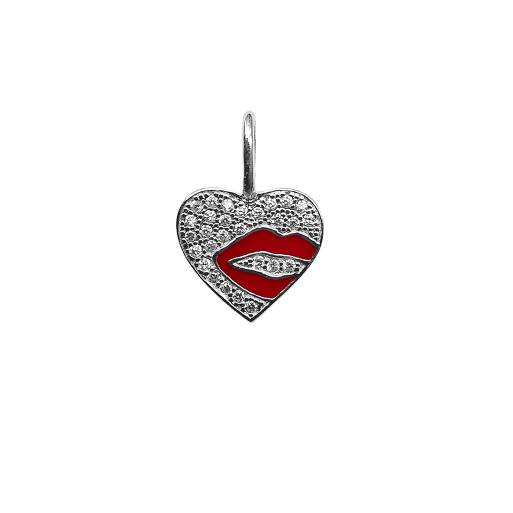 Crystal Heart With Lip Charm