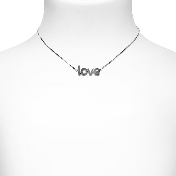 3D Love Necklace -Silver