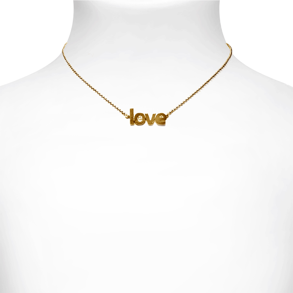 3D Love Necklace -Gold