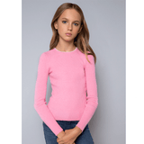 Neck Piping Sweater - Pink