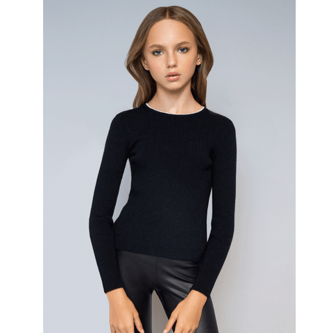 Neck Piping Sweater - Black