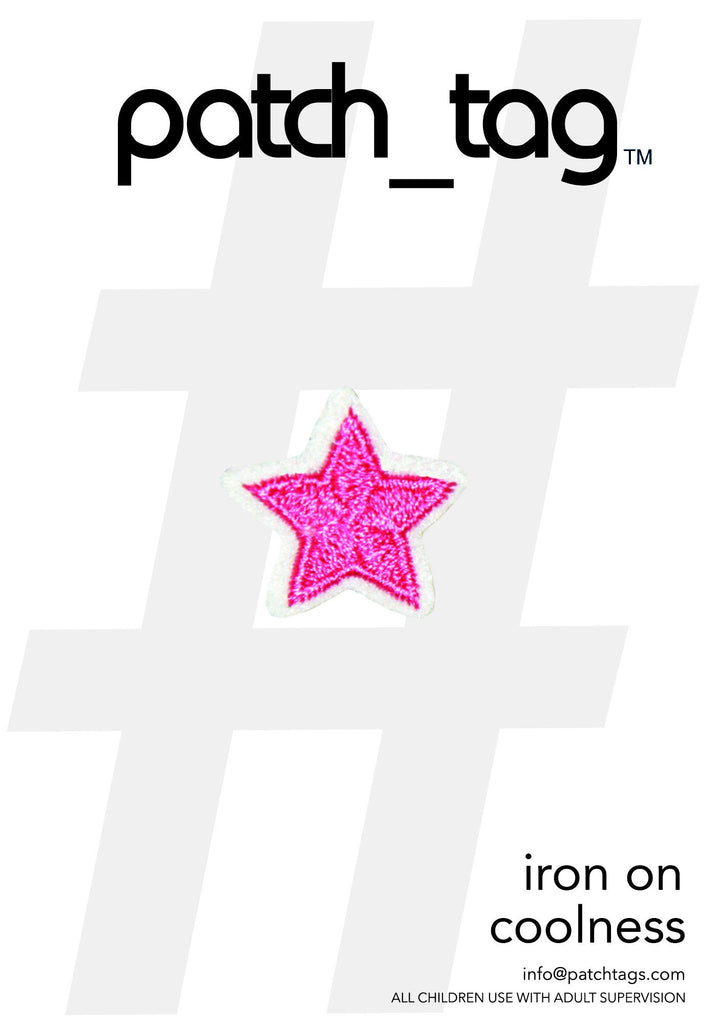 Mini Pink Star Iron On patch_tag From me.n.u