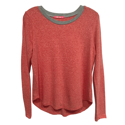 Long Sleeve Ringer Tee - Red