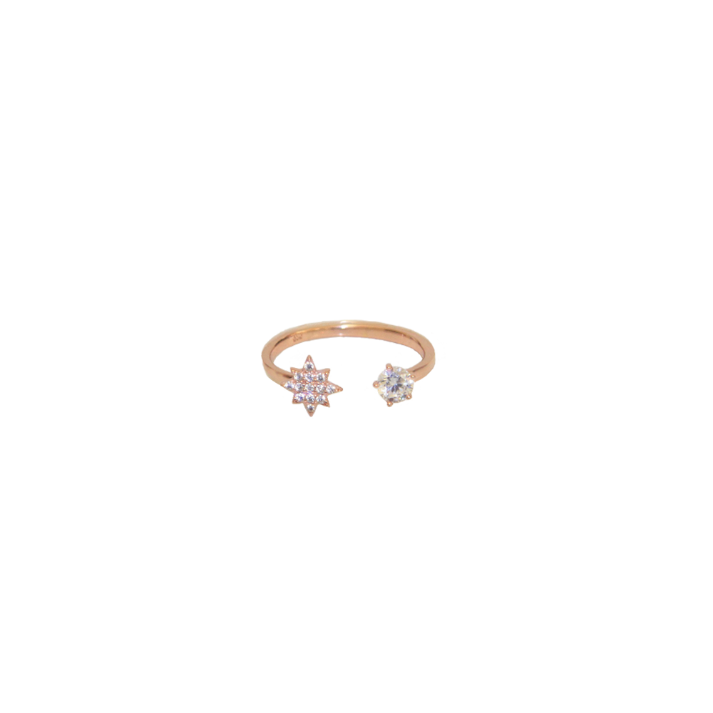 The Double Crystal Ring in Rose Gold by me.n.u