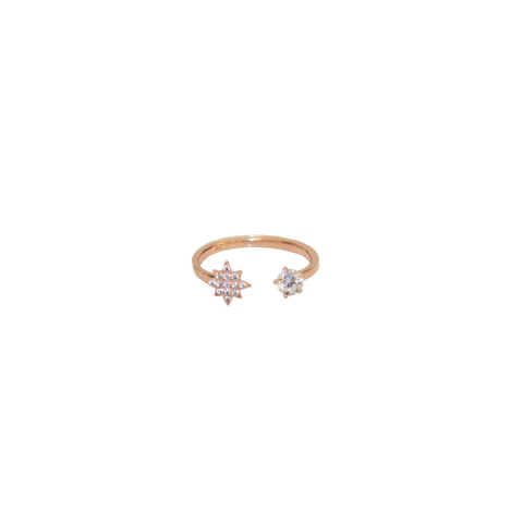 Double Crystal Ring- Rose Gold