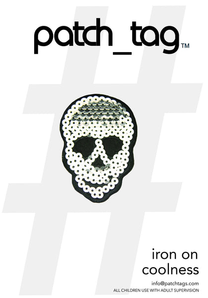 Silver Sequin Skull Iron On patch_tag From me.n.u