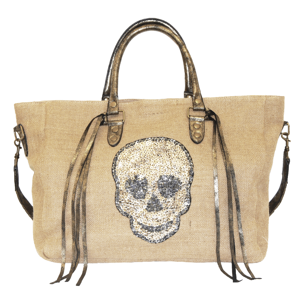 Sequin Skull Tote, canvas travel bag with sequin skull appliqué