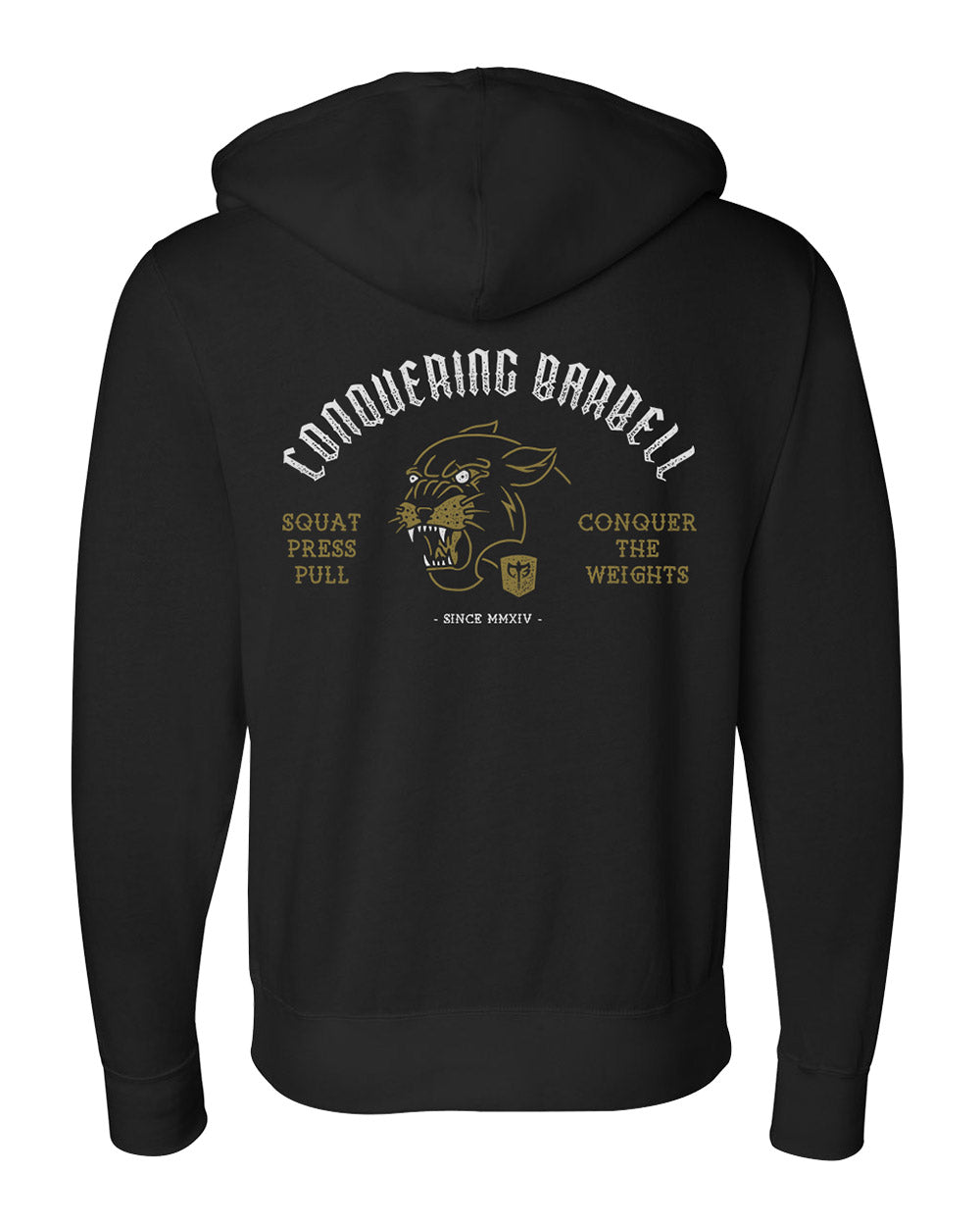 Conquering Barbell Panther Strength Hoodie - Black