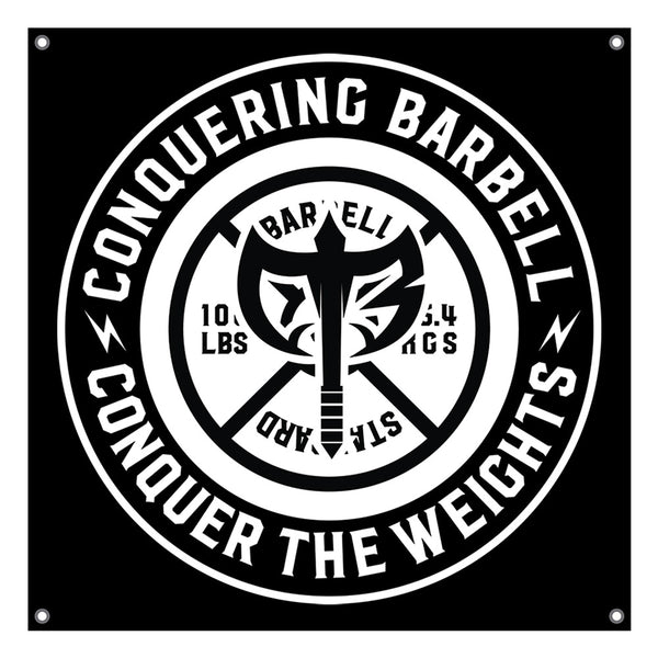 Conquering Barbell - 4'x4' Gym Banner