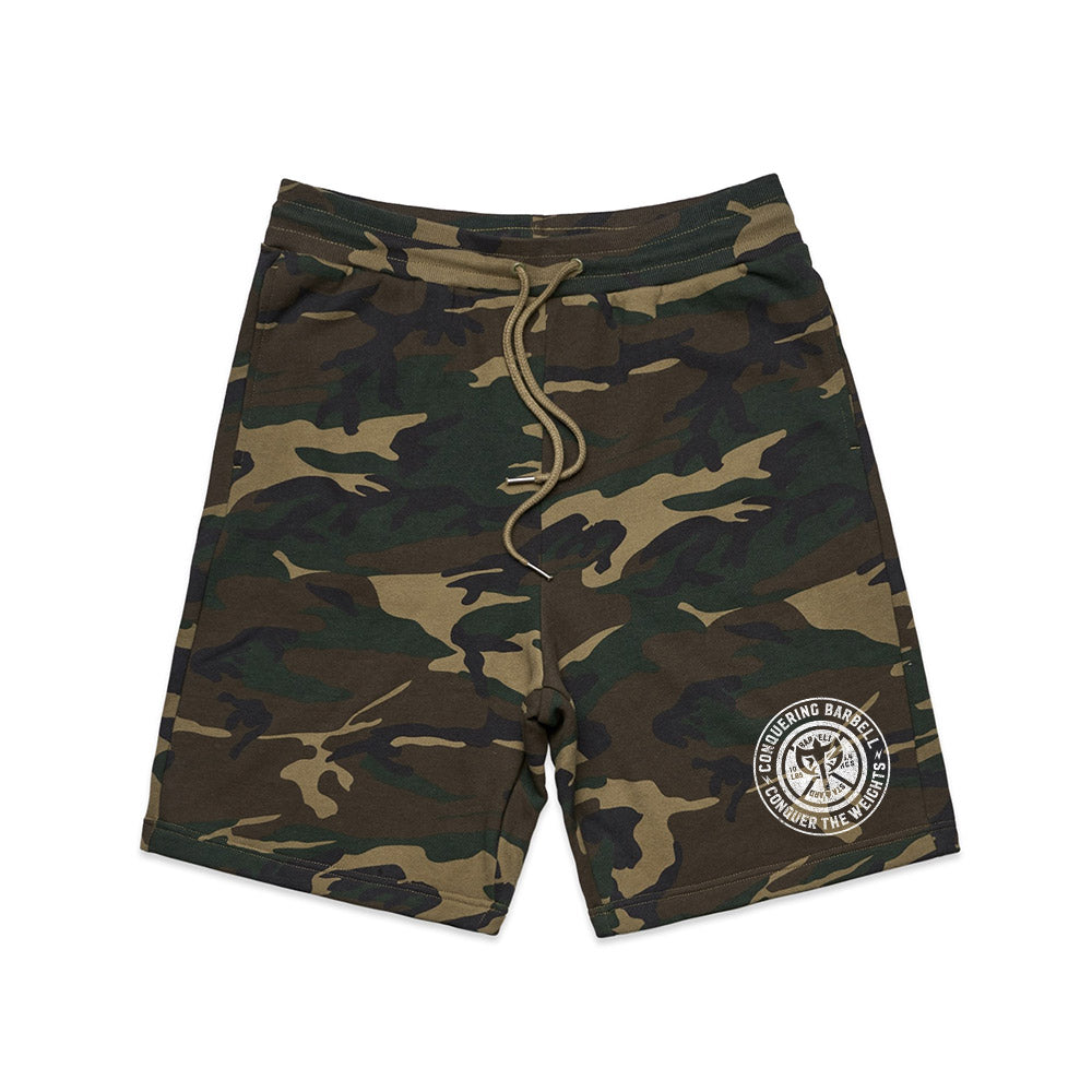 Conquering Barbell French Terry Shorts - Camo