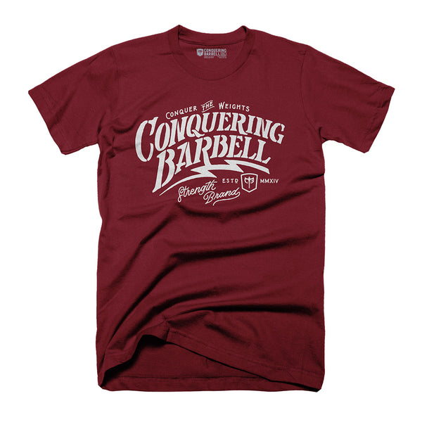 Conquering Barbell - Script Lightning - on Heather Cardinal Tee