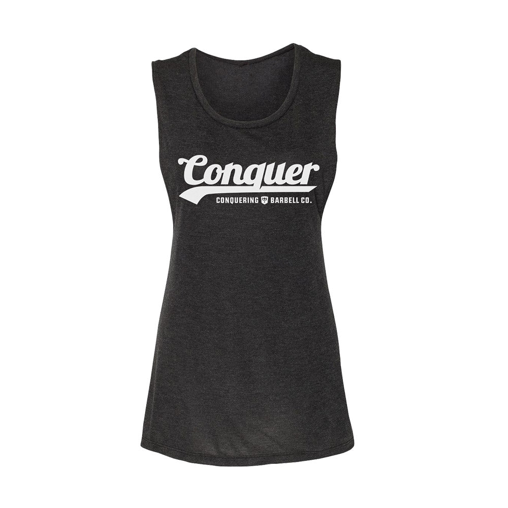 Women's Flowy Muscle Tank - Conquer - on Black