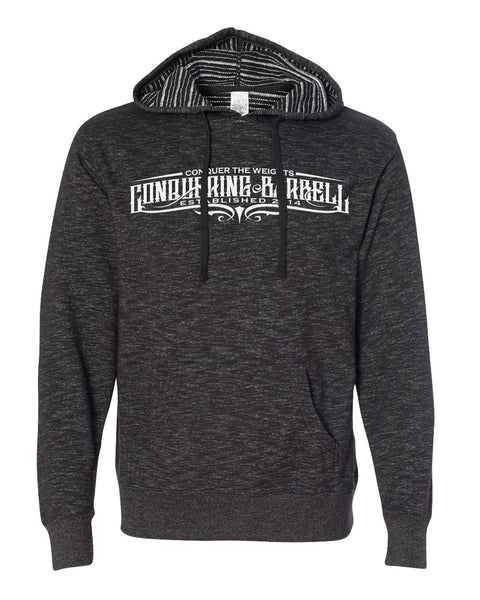 Conquering Barbell Script Hoodie