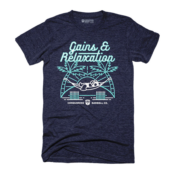 Gains & Relaxation - on Navy Tee