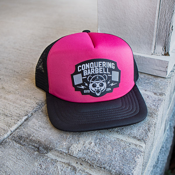 Conquering Barbell Panda Trucker Hat - Hot Pink