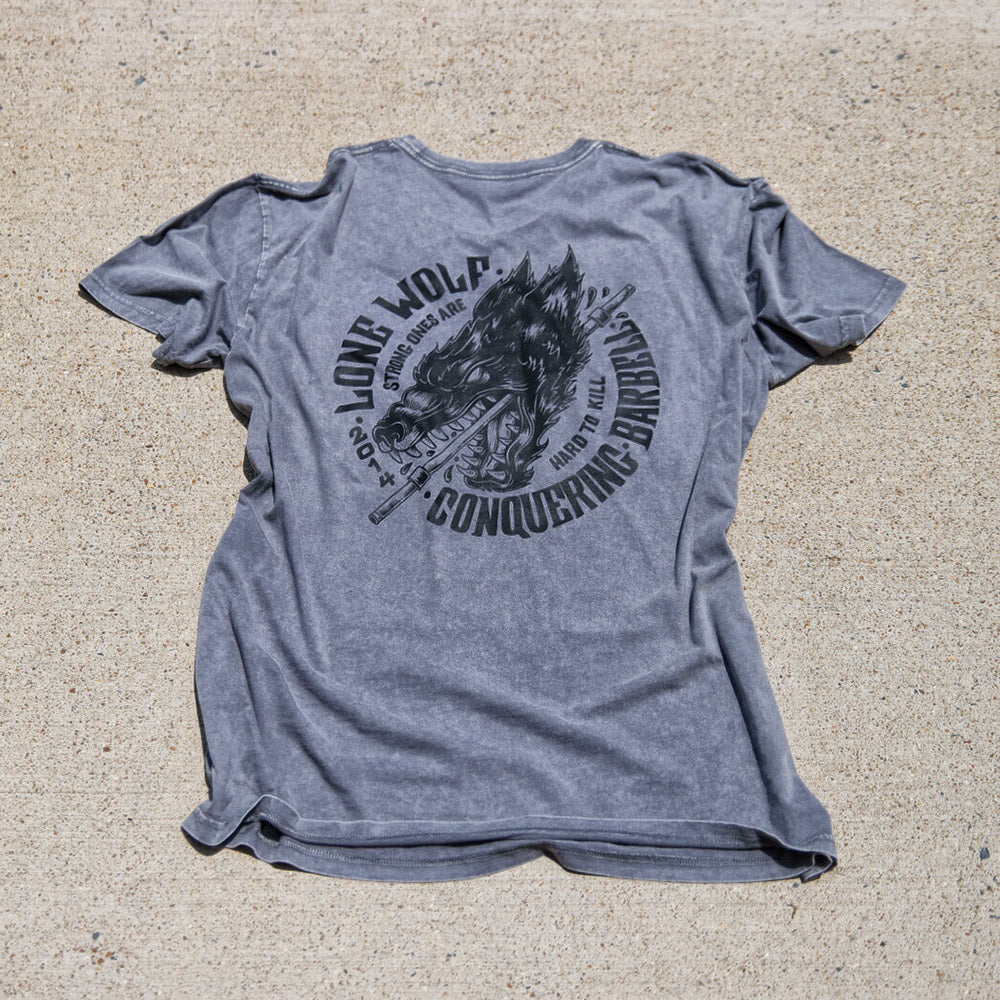 Lone Wolf - on Grey Mineral Washed Tee