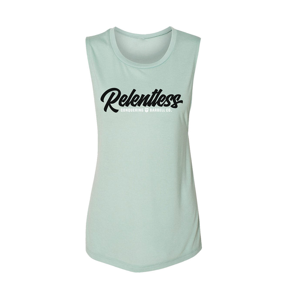Women's Flowy Muscle Tank - Relentless - on Dusty Blue
