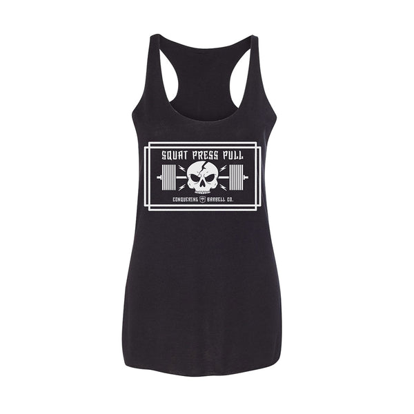 Women's Squat Press Pull (Skull) - on Black Racerback
