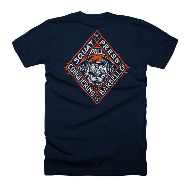 Skull Lightning - on Navy Tee