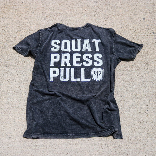 Squat.Press.Pull. on Black Mineral Washed Tee