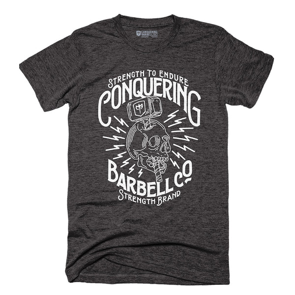 Strength to Endure Skull - on Charcoal Tee