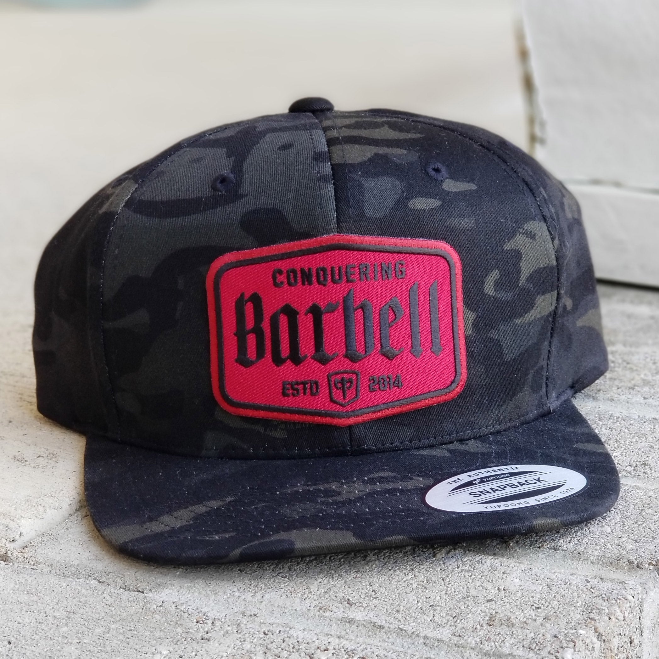 CB Label Snapback - Black Camo