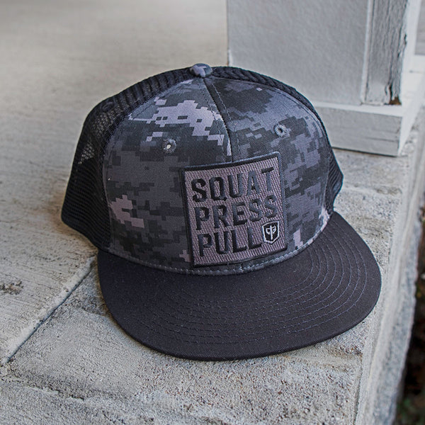 Squat Press Pull Trucker Snapback - Black Digital Camo