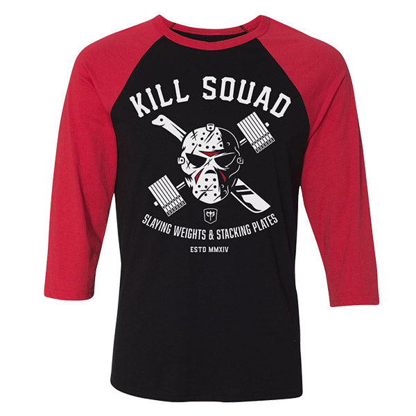 Kill Squad on 3/4 Sleeves Black/Red Raglan Tees