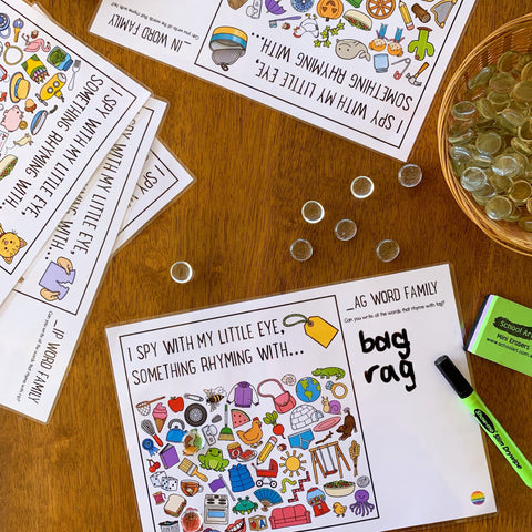 Rhyming Short Vowel Sound Word Family I Spy Mats - COMPLETE BUNDLE | you clever monkey