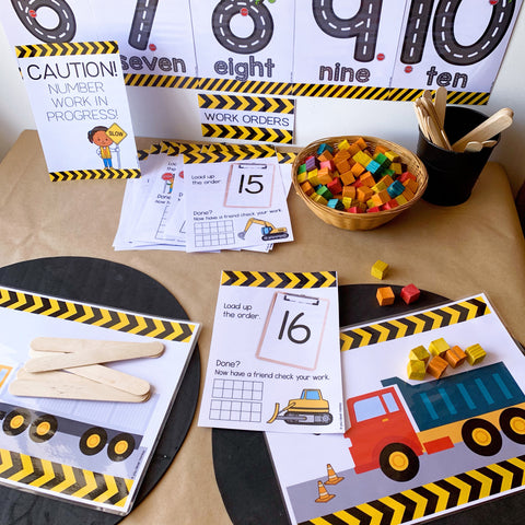 Construction Themed Number Mats | you clever monkey