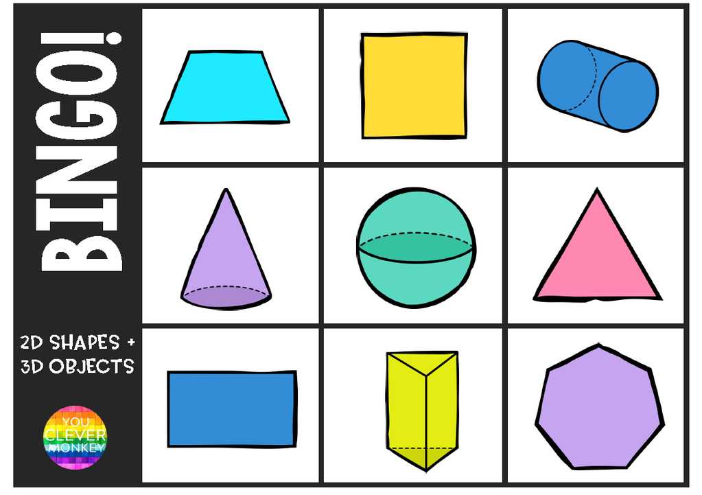 graphic about Shape Bingo Printable named 2D Form + 3D Item BINGO Sport by yourself sensible monkey