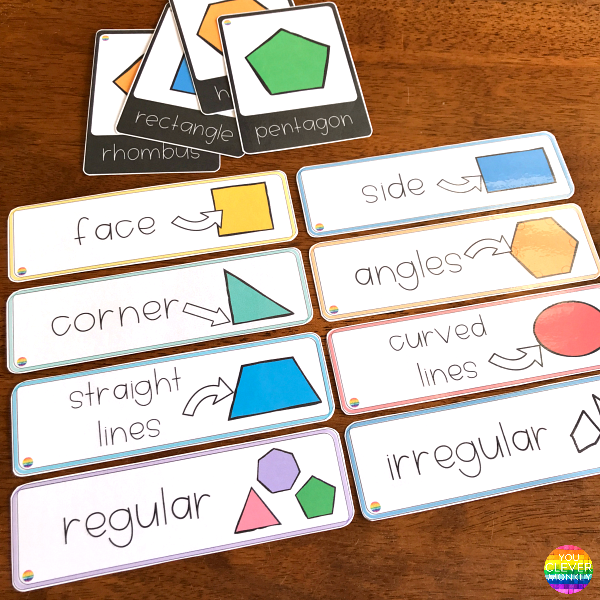 2D Shape Editable Posters + Word Wall Cards