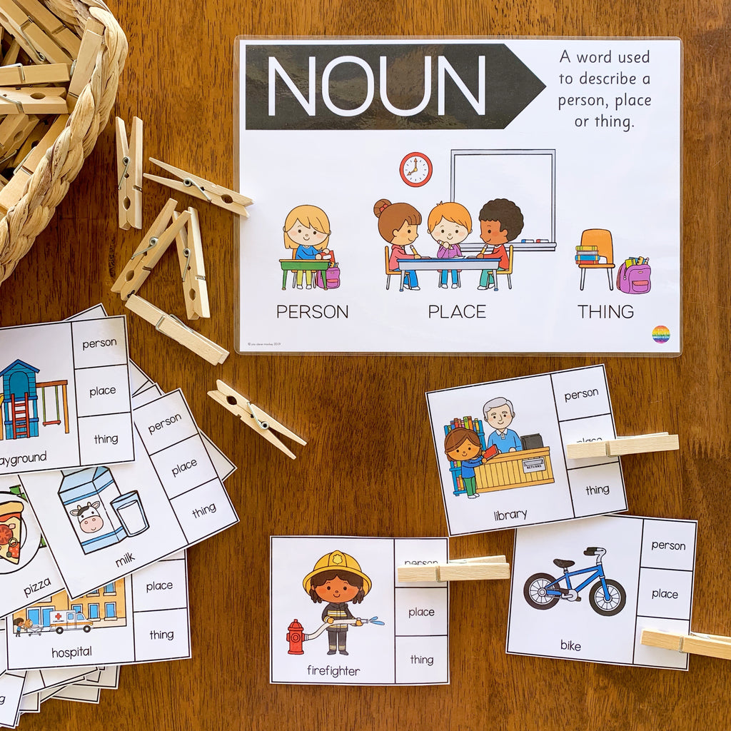 Noun Sorting Clip It Cards - Person, Place or Thing