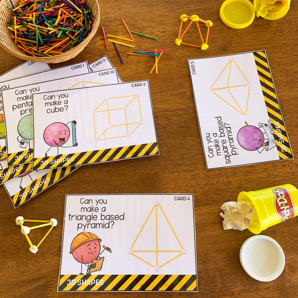 3D Shape STEM Challenge Cards