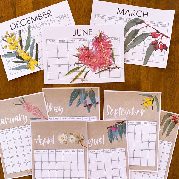 AUSSIE FLORA Simple Calendar