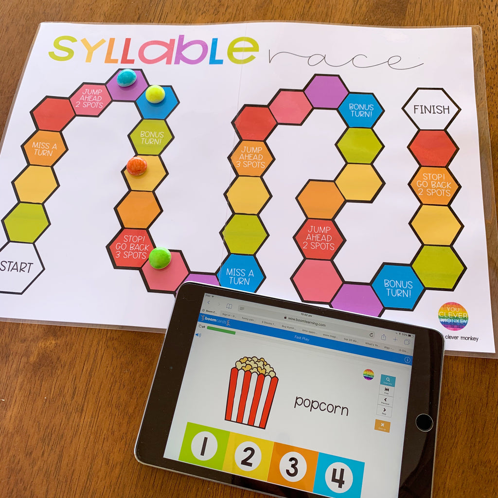Syllable Race Game with BOOM Cards