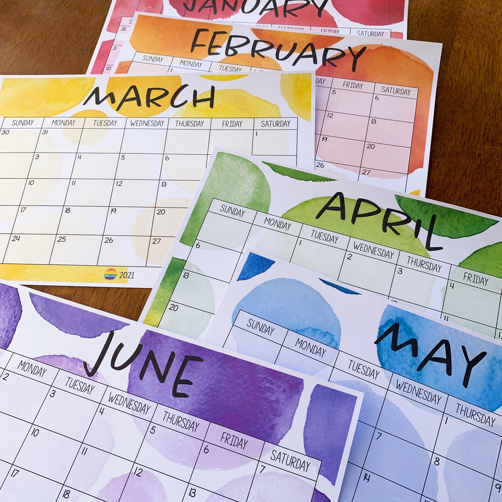 WATERCOLOR PAINT Simple Calendar