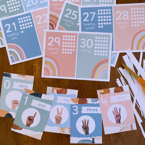 BOHO RAINBOW Number Posters 0-30